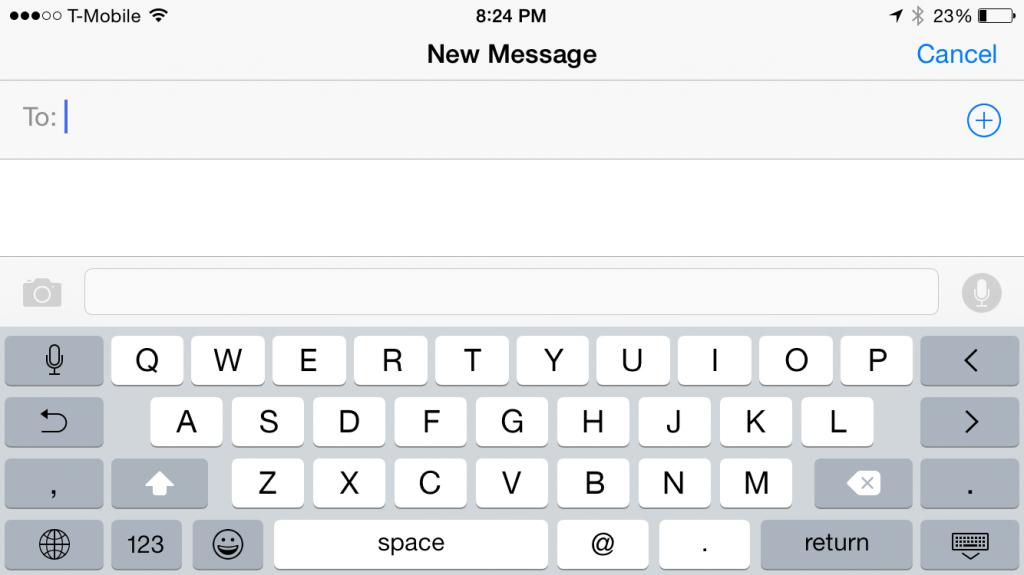El teclado del iPhone 6 en forma horizontal muestra más teclas