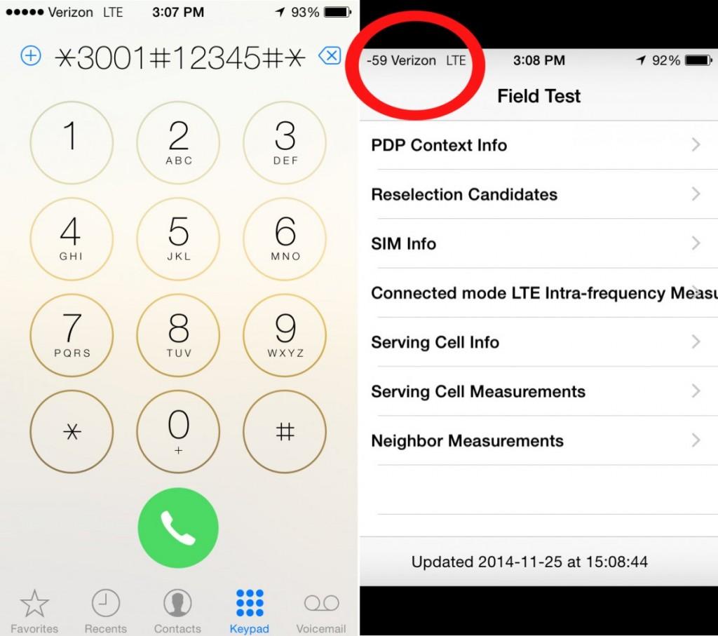 Cuando digitamos esta combinación de números y signos aparecerá la app de Field Test Mode. Noten como el iPhone ahora despliega la potencia de la señal en números en vez de puntos